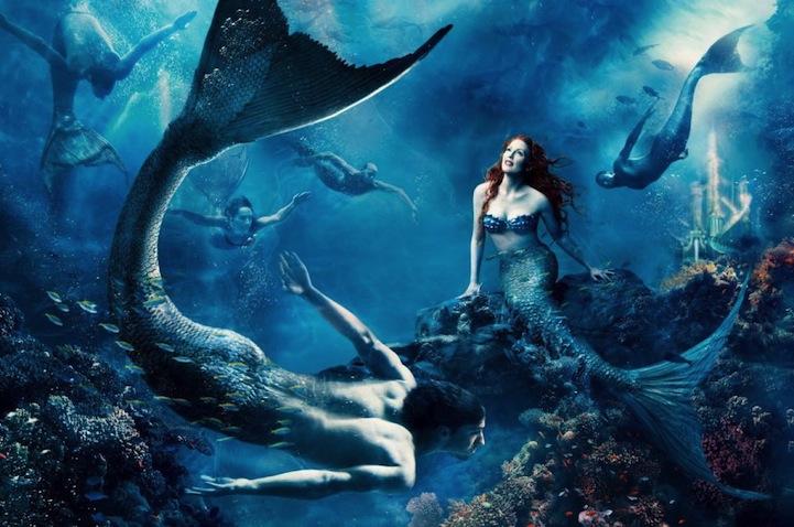 Julianne-Moore-as-Ariel-and-Michael-Phelps-as-a-merman